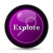 Explore icon. Internet button on white background.. - stock illustration