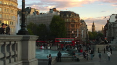 Panning shot of Trafalgar Square with Big Ben in the distance. - stock footage