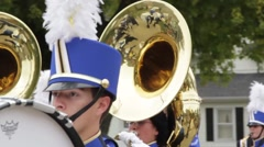A close up of Tuba players in a marching band - stock footage