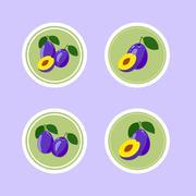 Design Stickers with Ripe Tasty Plum - stock illustration