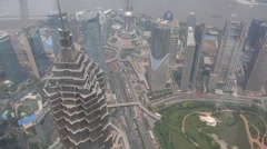 Aerial view of Pudong district cityscape in foggy day in Shanghai Stock Footage