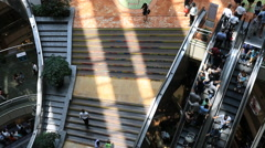 People using luxury shopping mall escalator in Shanghai Stock Footage