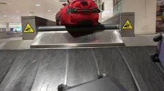 Baggage reclaim at the airport in barcelona in spain Stock Footage