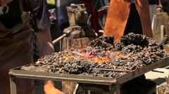 Preparation of the Hearth Furnace for Use Stock Footage