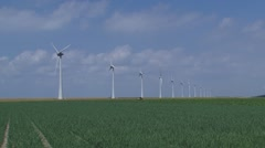 Windpark Noordoostpolder along sea dike Stock Footage