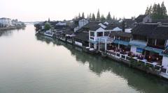 Beautiful sunset in Zhujiajiao water village of Shanghai, China Stock Footage