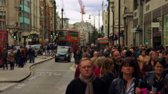 LONDON - OCTOBER 8: Hustle and bustle on Oxford Street in slow motion on October - stock footage
