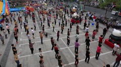 People dancing together on main square of Zhujiajiao water village in Shanghai Stock Footage