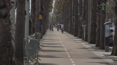 Cycle track in Barcelona city in Spain Stock Footage