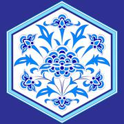 designed with shades of blue ottoman pattern series twelve - stock illustration