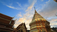 Wat Phra That Doi Suthep Famous Temple of Chiang Mai, Thailand (pan shot) - stock footage