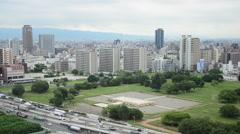 Aerial view of traffic road at Osaka, Japan Stock Footage