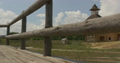 Wooden Building Near the Ancient City, From Behind the Wooden Fence, Forest, Stock Footage