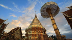 Wat Phra That Doi Suthep Famous Temple of Chiang Mai, Thailand Stock Footage