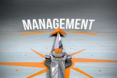 Management against bleached wooden planks background Stock Illustration