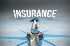 Insurance against bleached wooden planks background Stock Illustration