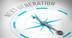 Next generation against compass - stock illustration