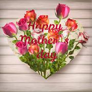 Stock Illustration of Mothers day card with roses. EPS 10