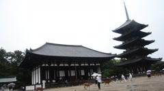 People visit and travel at Kofukuji Temple  while raining in Nara, Japan Stock Footage