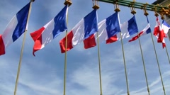French Flag Waving in the Wind, France Stock Footage