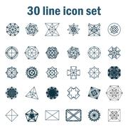 Stock Illustration of Set of thirty angular abstract vector icons