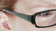 Woman Wearing Glasses - Closeup Stock Footage