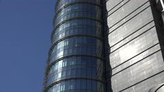4K Closeup modern glass facade skyscraper design business tower engineering day Stock Footage