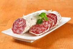 Saucisson Sec - French dry sausage Stock Photos