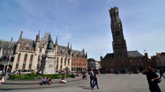 Grote Markt square in Bruges, Belgium. Stock Footage