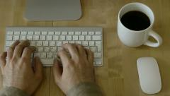 Typing at Light Wooden Desk at Laptop whis individual habits Stock Footage