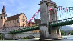 Going Under the Seyssel, France Bridge Stock Footage