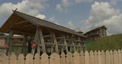 Wooden Fence and Structures in Ancient City, Reconstruction, Museum at the Open Stock Footage