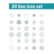 Set of thirty angular abstract vector icons - stock illustration