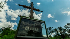Orthodox Christian worship cross in the sky clouds on background Stock Footage