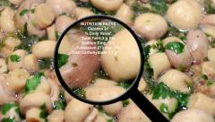 Nutrition facts on mashrooms Stock Footage