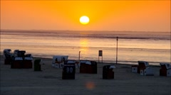 Sunset on the beach, North Sea Stock Footage