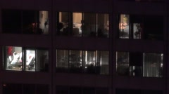 4K Business office building night company desk professional success headquarters Stock Footage