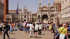 Slow motion video of tourists in Piazza San Marco Stock Footage