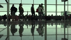 Passenger in the barcelona airport in spain and interior of the airport Stock Footage