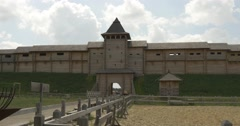Road to Entrance of Ancient Sity, Wooden Structures, Walls With Embrasure, Stock Footage