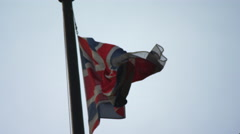 British flag in the wind Stock Footage