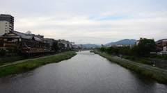 Kamo River in Kyoto, Japan Stock Footage