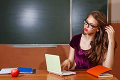 Excellent student solves problems for your laptop. - stock photo