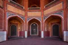 Arch with carved marble window. Mughal style. Humayun's tomb, Delhi - stock photo