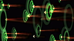 4k Ripple wave,shake rhythm particle energy,neon fireworks,arrow hitting target Stock Footage