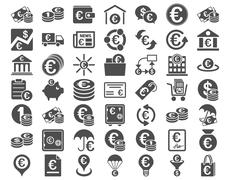 Euro Banking Icons Stock Illustration