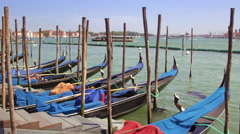 Bobbing gondolas in a docking station Stock Footage