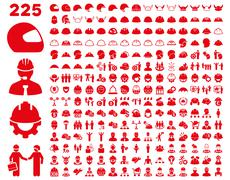 Work Safety and Helmet Icon Set - stock illustration