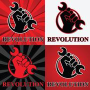 Fist revolution symbols with wrench - stock illustration