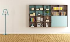 Living room with  modern bookcase - stock illustration